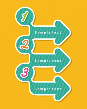 three points: arrows infographics  over yellow background vector illustration