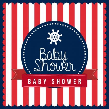 boat party: baby shower design over lineal background vector illustration