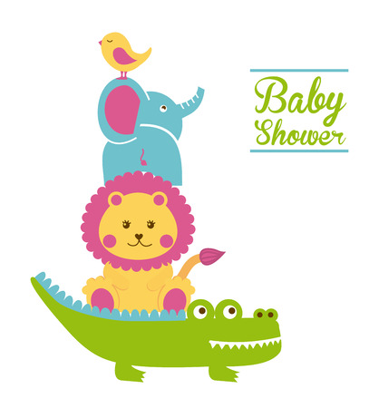 Diseño de la ducha del bebé sobre fondo blanco ilustración vectorial Foto de archivo - 22310974