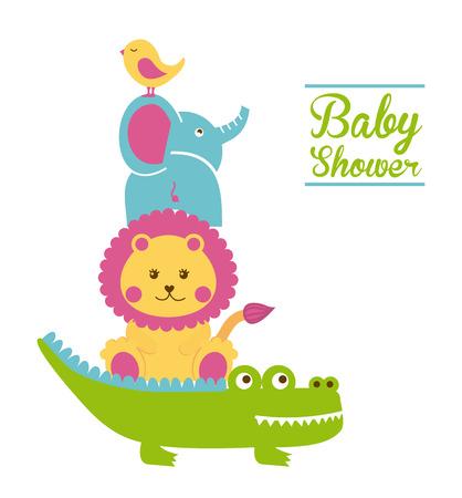 leon bebe: dise�o de la ducha del beb� sobre fondo blanco ilustraci�n vectorial