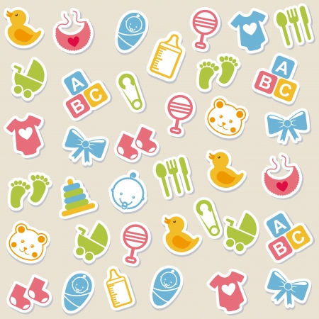 baby icons over beige background vector illustration Vector