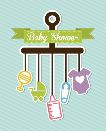 baby announcement card: baby shower design over blue background vector illustration