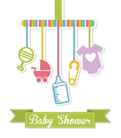 dise?o de la ducha del beb? sobre fondo azul ilustraci?n vectorial