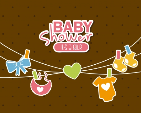 baby clothes: baby shower design over brown background vector illustration