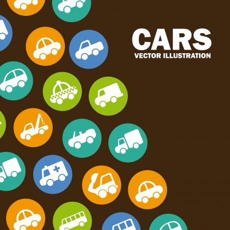 coachwork: cars design over brown background vector illustration Illustration