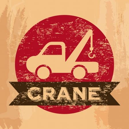 crane services over vintage background vector illustration Stock Vector - 22311041