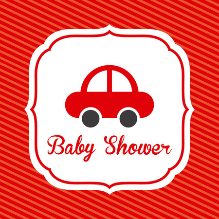 baby shower design over red background vector illustration  Vector