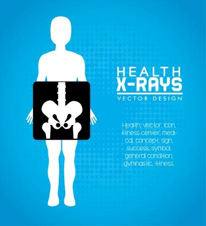 rx: health design over blue background vector illustration   Illustration