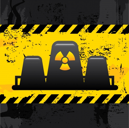 industrialization: nuclear power over black  background vector illustration