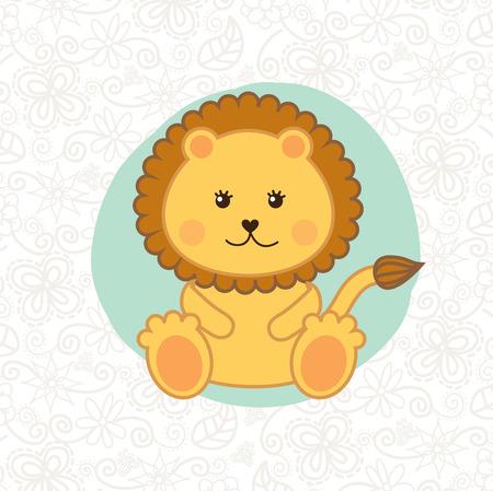 animalitos tiernos: leon dise�o sobre fondo de ilustraci�n vectorial