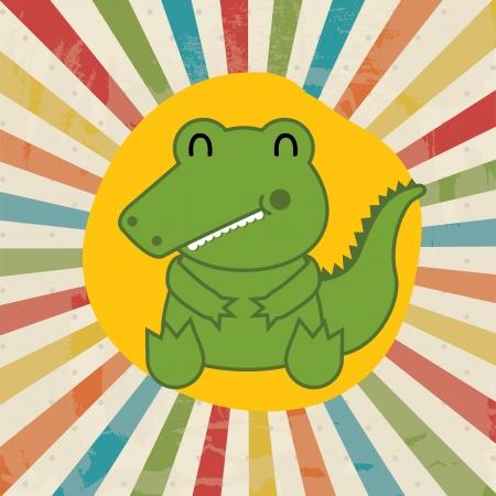 smyle: cute crocodile over grunge background vector illustration Illustration