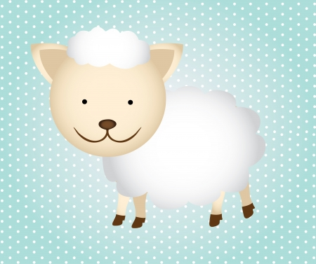 smyle: sheep cartoon isolated over dotted background. vector illustration