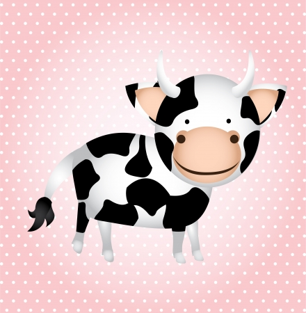 smyle: cow cartoon isolated over pink background. vector