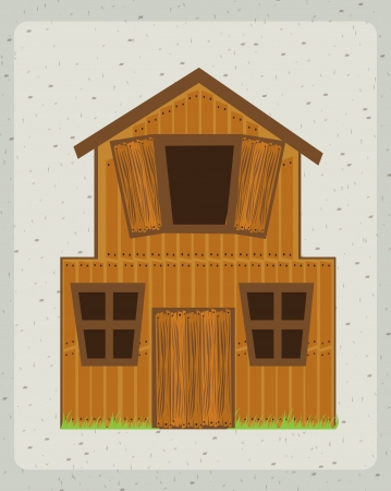 farm house with  over gray background. vector illustration Vector