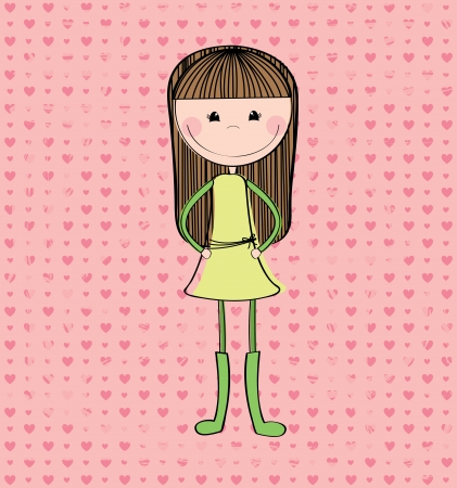 camaraderie: cartoon girl over pink background vector illustration