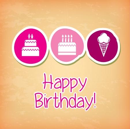 birthday cakes design over cream background vector illustration  Vector