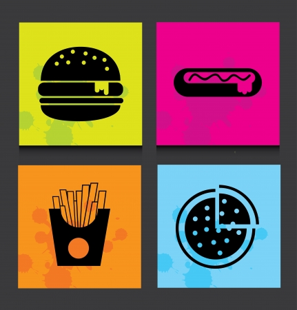 unhealthy food: fast food label over black background vector illustration Illustration