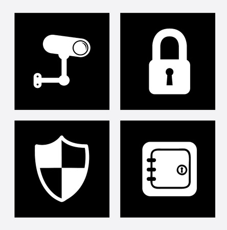 monitored area: security icons over white background vector ilustration