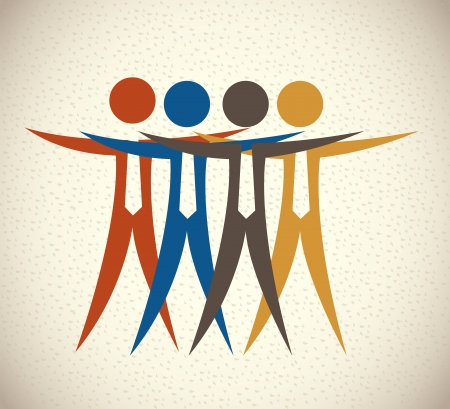 teamwork design over pattern background vector illustration  Vector