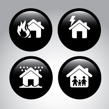 insurance icons over gray background vector illustration  Vector