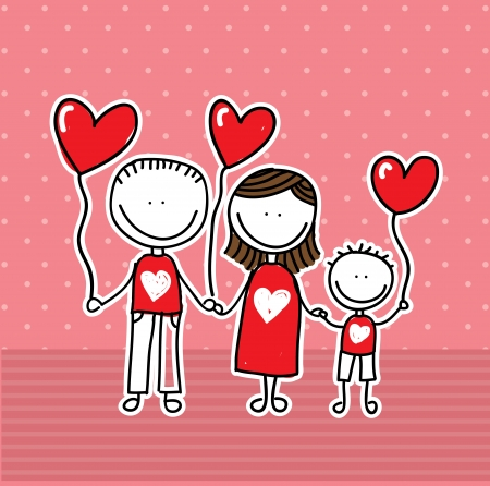 family love over pink background  vector illustration Vector
