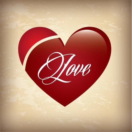 love heart over vintage background vector illustration