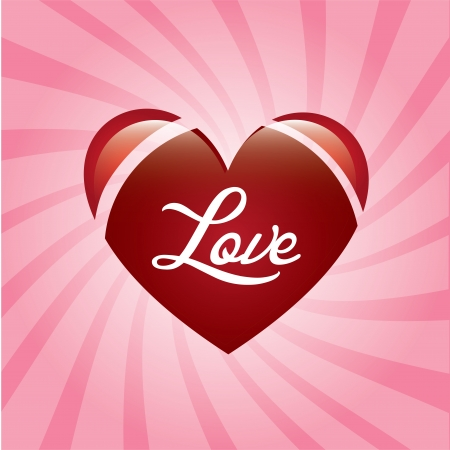 love heart over pink background vector illustration Stock Vector - 22327232
