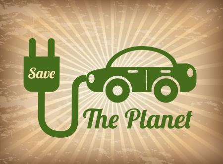 eco tourism: save energy design over grunge background vector illustration Illustration