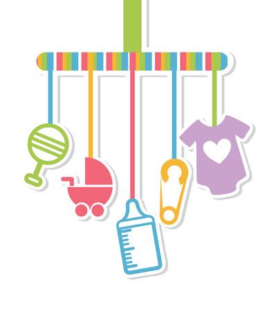 baby biberon: baby doccia design su sfondo bianco illustrazione vettoriale