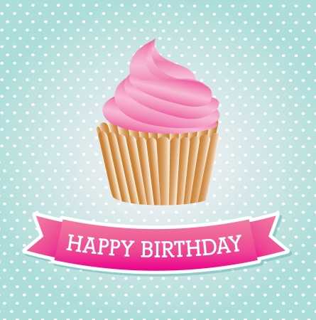 cup cake birthday over dotted background vector illustration