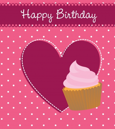 cup cake birthday over pink background vector illustration   Illustration
