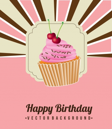 cup cake birthday over grunge background vector illustration   Vector