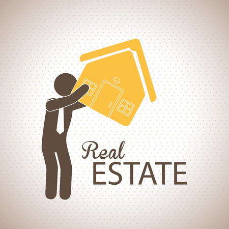 sustained: real estate design over dotted background vector illustration