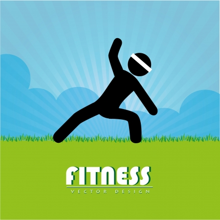 fitness design over landscape background vector illustration  Vector