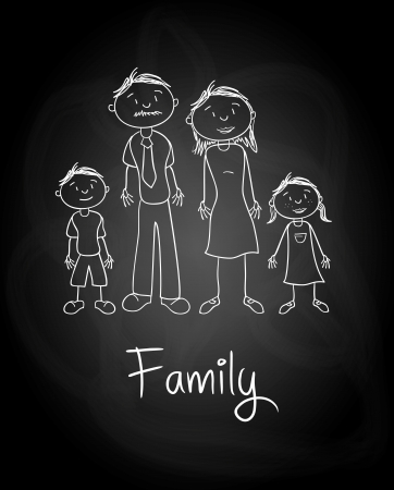 family design over blackboard  background vector illustration  Vector