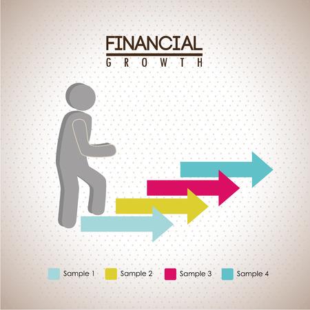 runing: crecimiento financiero sobre fondo punteado ilustraci�n vectorial