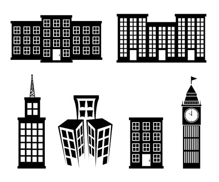 buildings icons over white background vector illustration Vector