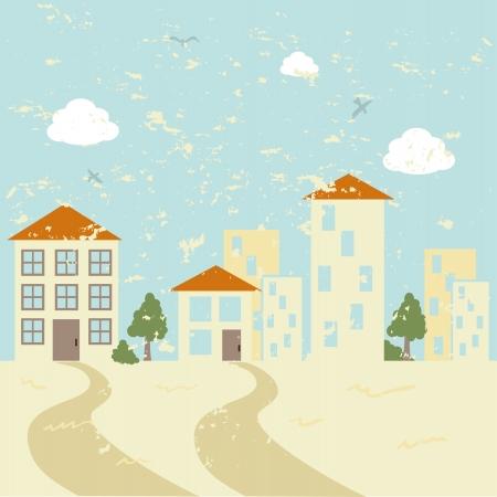 rout: city design over landscape background vector illustration