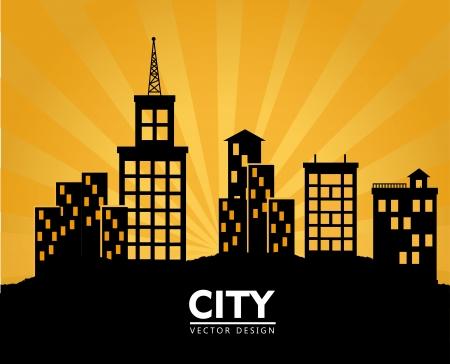midtown: city design over sunset background vector illustration