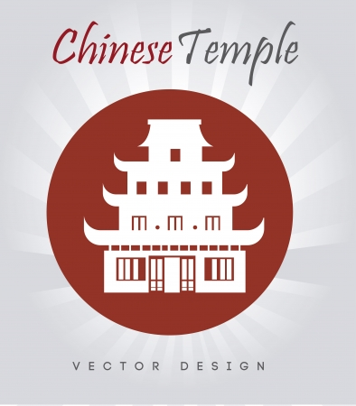 chinese temple: chinese temple over gray background vector illustration