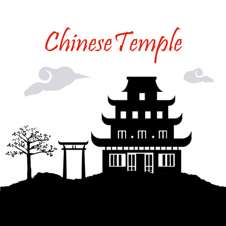 chinese temple over white background vector illustration  Vector
