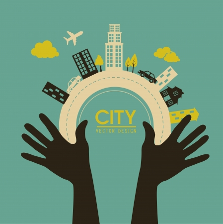 city design over blue background vector illustration   Vector