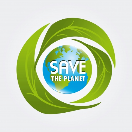 save the planet design over white background vector illustration    Vector
