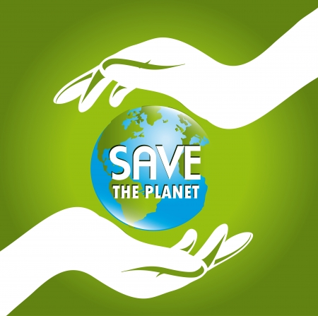 protection icon: save the earth design over green background vector illustration    Illustration