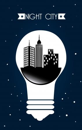 midtown: city at night design over  night background, vector illustration Illustration