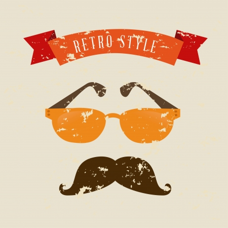 moustaches: hipster design over cream background vector  illustration