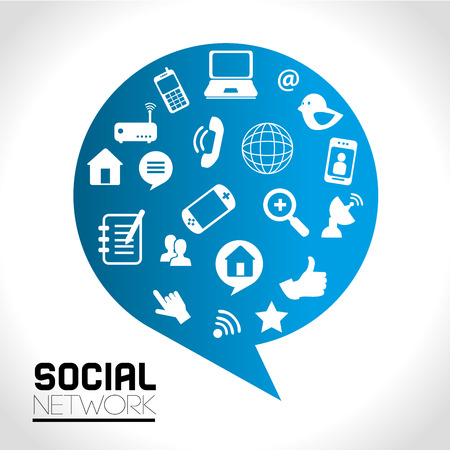 advanced computing: social network icons over gray background vector illustration