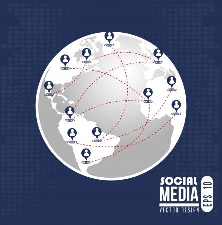social network design over blue background vector illustration Stock Vector - 22333144