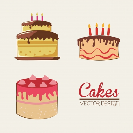 cakes design over white background vector illustration Vector