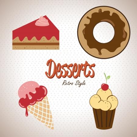 desserts icons over beige background vector illustration Illustration